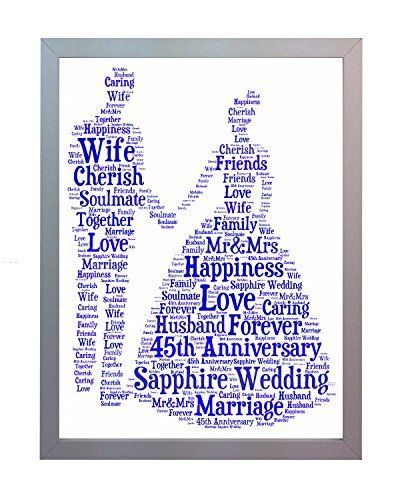 Framed 45th Sapphire Wedding Anniversary Word Art A4 Print. Photo Picture Keepsake Gift for Mum, Dad, Gran, Grandad, Friend & Family Oaktree Gifts http://www.amazon.com/dp/B00M0IG3YC/ref=cm_sw_r_pi_dp_Gjufvb1BC6SGX