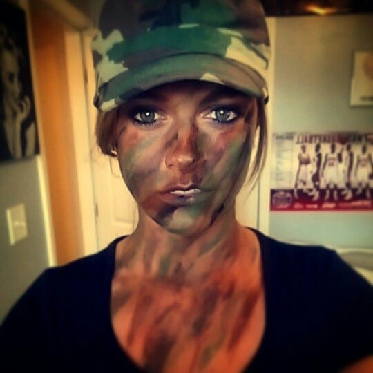 GI Jane. Army girl. Halloween. USA. Was proud of the way I did my paint makeup