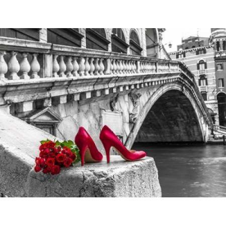 Bunch of red roses and red high heel shoes Rialto Bridge Venice Italy Canvas Art - Assaf Frank (18 x 24)