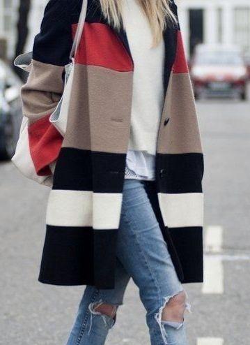 Color-blocked coat