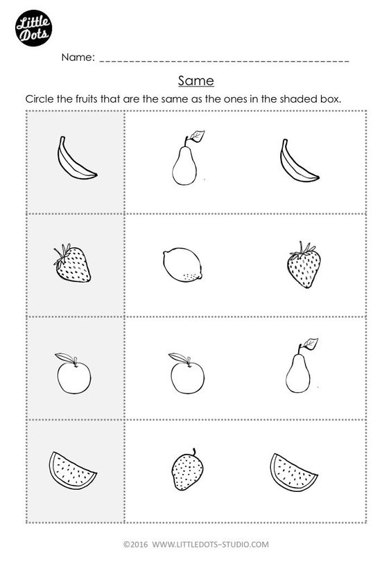 Pre-K Math: Same and Different Worksheets | Little Dots Studio ...