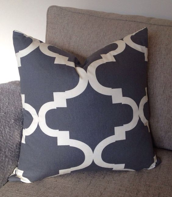Charcoal & Cream Quatrefoil Pattern Decorative Pillow Cover, Euro Sham, Throw Pillow, Accent Pillow - Bobi Law Designs on Etsy