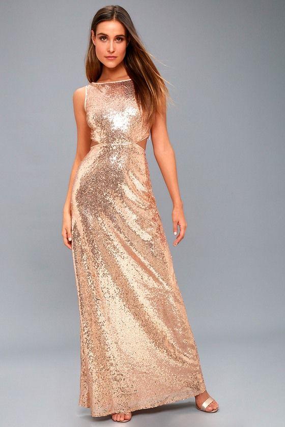Belle Etoile Rose Gold Sequin Maxi Dress In 2020 Long Sleeve Lace Maxi Dress Sequin Maxi Dress Gold Sparkly Dress