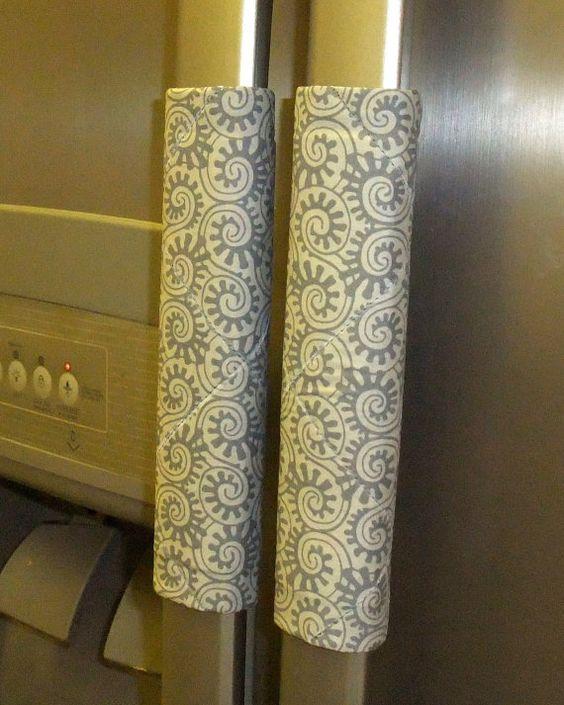 Refrigerator Door Handle Covers Wraps Blue Circles