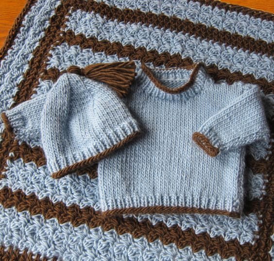 Knitting Patterns And Wool Sets : Wool/Alpaca Roving Knitted Baby Sweater Set and Crocheted Blanket Designs I...