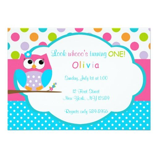 "Girls Owl Birthday Invitation 5"" X 7"" Invitation Card"