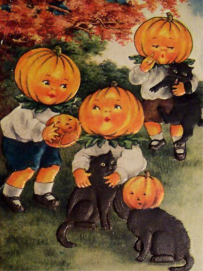 """Pumpkinheads (Vintage Halloween Card)""--My husband painted a life-size copy of the pumpkin boy in the upper right on plywood. We have put it on our front porch at Halloween for years.:"