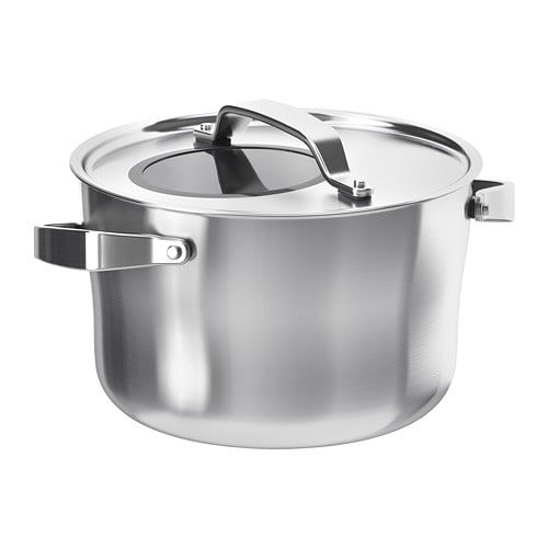 Sensuell Stainless Steel Grey Pot With Lid Height 15 Cm Ikea Ikea Sensuell Glass Cooktop Stainless Steel