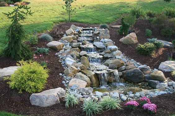 Waterfalls small ponds and ponds on pinterest for Waterfall design pros and cons