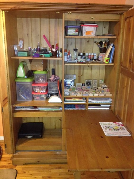 Craft Armoire Love The Fold Out Table Craft Storage