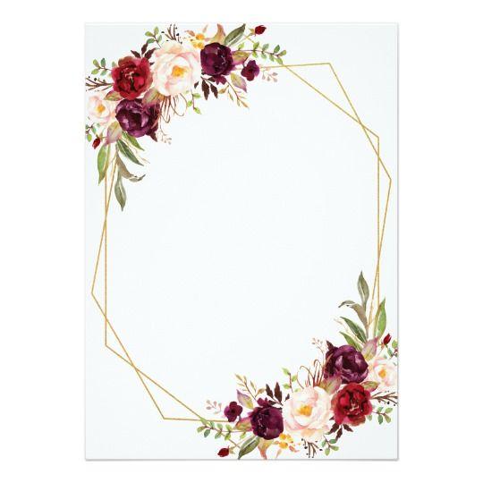 Burgundy Floral Calligraphy Geometric Wedding Invitation Zazzle Com Geometric Wedding Invitation Flower Wedding Invitation Geometric Wedding