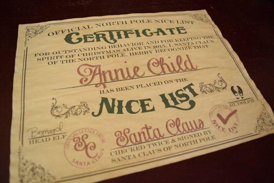 Nice List - Christmas Nice List - Santa Nice List - Vintage Nice List - Nice List Certificate - Naughty List - Nice Letter
