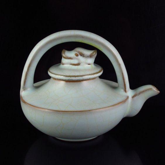 Chinese Light Blue Glaze Ru Kiln Porcelain Teapot