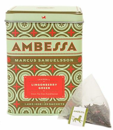 Chef Marcus Samuelsson's Lingonberry Green tea comes in a beautiful tin that needs no wrapping at all. $9