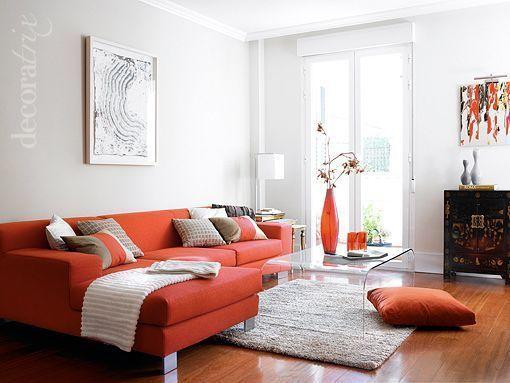 Imagenes de salones en gris y naranja buscar con google for Decoracion naranja