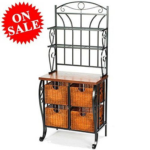 Wrought Iron Bakers Rack With Wire Shelving And Baskets 2 Tier