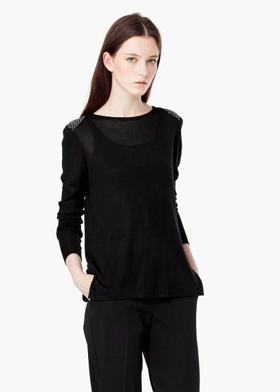 Jersey abalorios hombro | MANGO