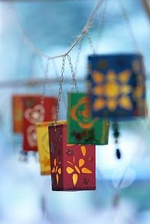 Milk cartons into lanterns