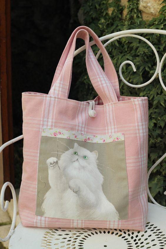 sac cabas doublé rose poudré shabby chic chat persan tissu épais,cuir réserve : Sacs à main par l-atelier-d-eugenie