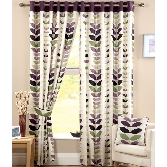Green Curtains aubergine and green curtains : Zest Modern Leaf Print Curtains, Cream / Aubergine - 11 Sizes ...