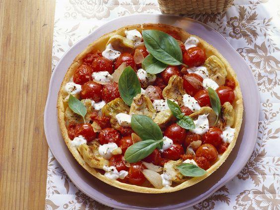 Tomaten-Mozzarella-Tarte mit Artischocken - smarter - Zeit: 25 Min.   eatsmarter.de