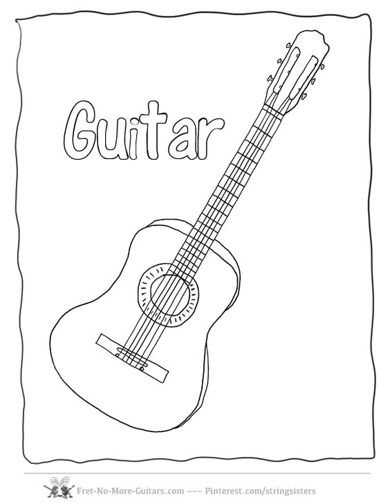 guitar coloring pages acoustic guitar at  fret