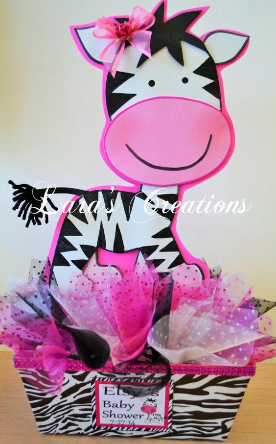 Zebra Centerpiece Baby Shower Centerpiece. by LarasCreationsShop