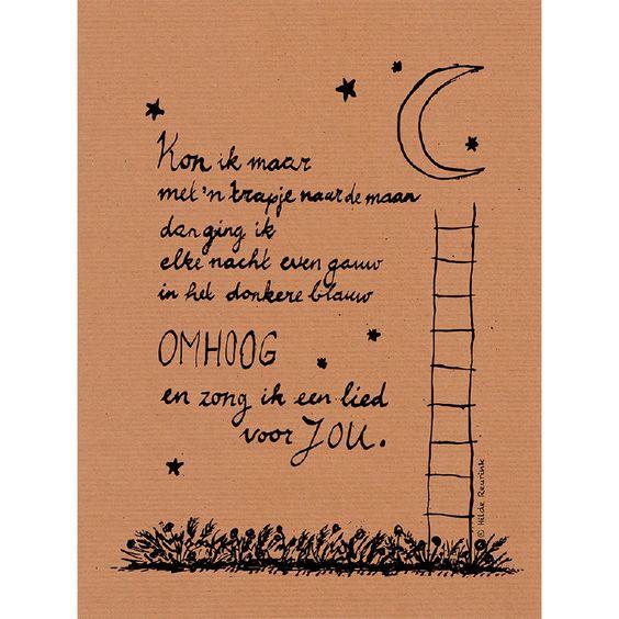 canvas schilderij met gedicht | Trapje naar de maan