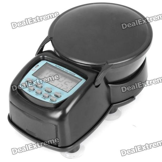 """Color: Black - Plastic case material - 1.7"""" LCD display - Suitable for dry, loose flake and pellet (max. 215ml / 80g) - Digital timer easy to set to feed fish on time (max. 90 days) - Can be operated both automatically and manually - Maximum 4 feedings per day, 1~9VOL quantity each time (0.75CC per VOL) - Powered by 2 x AA batteries (not included) - Easy to attach on aquarium wall - Comes with installation kit and English user manual http://j.mp/1tp1YrK"""