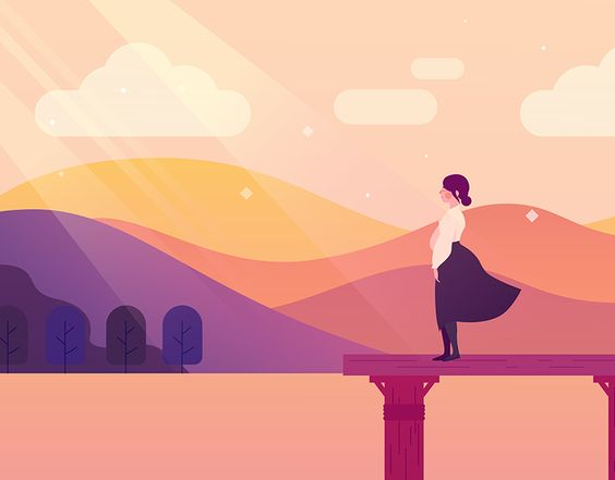 Serenity Illustration Series on Behance  #sunset #vectorillustration #girlillustration #anzacday #motiondesign #styleframe