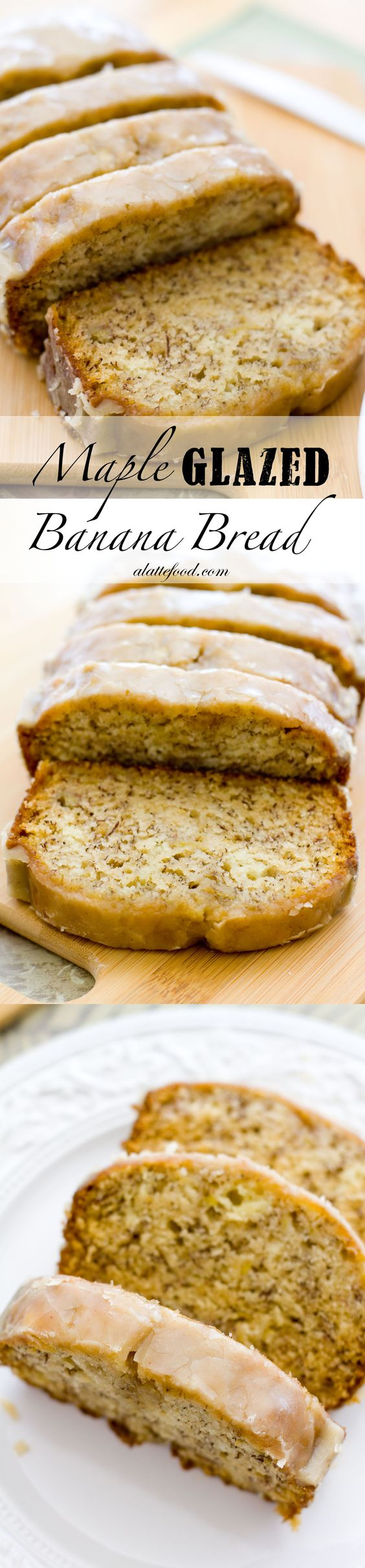 Maple Glazed Banana Bread | Mom's banana bread topped with a maple glaze that's to die for!