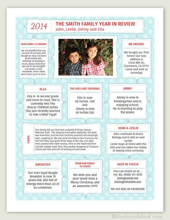 Christmas Family Newsletter Template  The Holidays Are Here