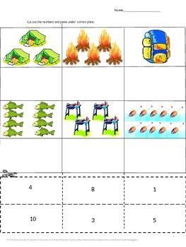 FREE: Free Camping Fun Cut and Paste Preschool Kindergarten Math ...