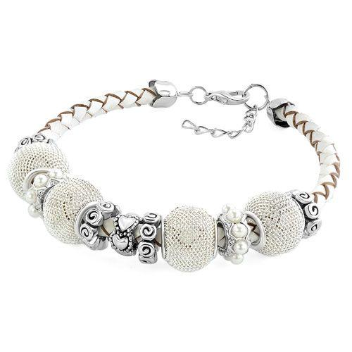 - heart tribal swirl filigree ball beads set lobster clasp braided leather bracelet Image.