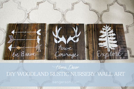 diy rustic woodland boy nursery decor art work wall
