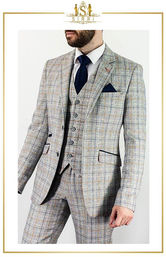 Slim Fit Herren Anzug im Tweed Stil von Cavani in 2020