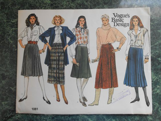Vogue Basic Design Sewing Pattern 1061 - Size 8-10-12 Skirts by WeBGlass on Etsy