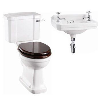 Burlington Cloakroom Slimline Toilet w/ Edwardian Wall Mounted 2TH Basin