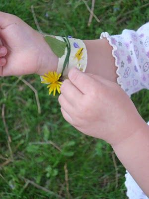 Make your own nature bracelet: Use duct tape (sticky side up) on your wrist and stick grass, flowers, petals, twigs etc to it as you walk.