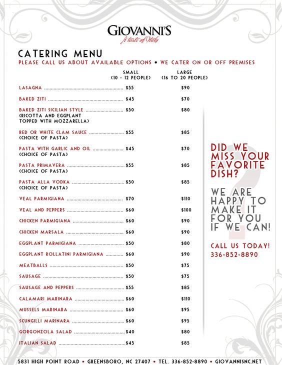 catering menu ideas | Catering Menu | catering | Pinterest ...