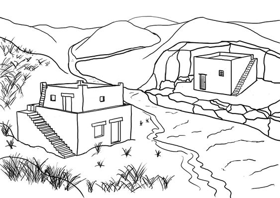 Printable Coloring Page House On Rock And Sand Sheet Bible