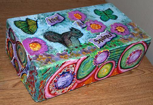 Upcycled mixed medium shoebox