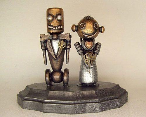 Robots Wedding Cake Topper