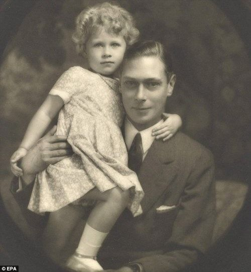 Little Queen Elizabeth II with her father, King George VI, so sweet, she adored her father.