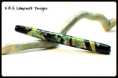 "K.R.H. Lampwork Designs ~ 4 1/4"" Lampwork Striking Glass Tube Bead ~ Shards"