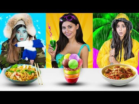 Summer Vs Rainy Vs Winter Food Challenge Azzyland And Gloom Youtube Food Challenge Winter Food Challenges