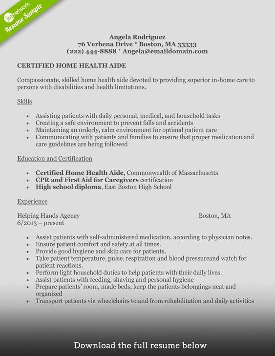 Write Perfect Home Health Aide Resume