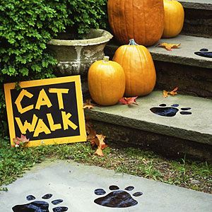 """""""Cat Walk"""" footprints for your front walkway (maybe can do this with """"monster"""" footprints too!)"""