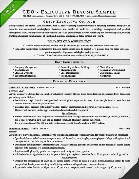 sample executive resume for a CEO resume Pinterest - ceo sample resume