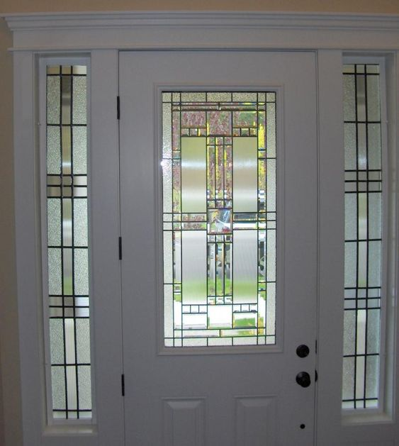 Stained glass side panel home pinterest residential for Residential front doors with glass